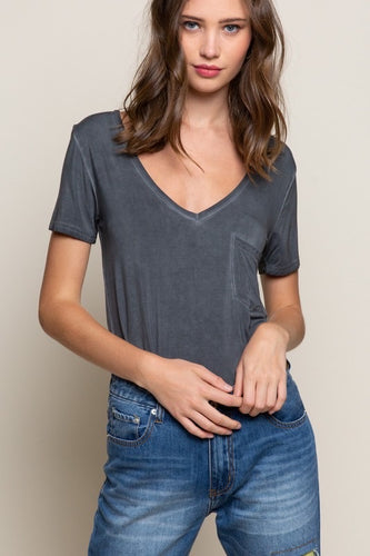 Deep V Short Sleeve Tee - Charcoal