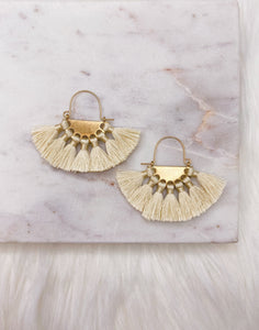 Cream Fan Tassel Earring