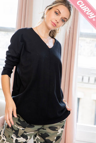 Buttery Soft V-Neck Sweater - Black