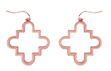 Load image into Gallery viewer, Rose Gold Quatrefoil Drop Earring