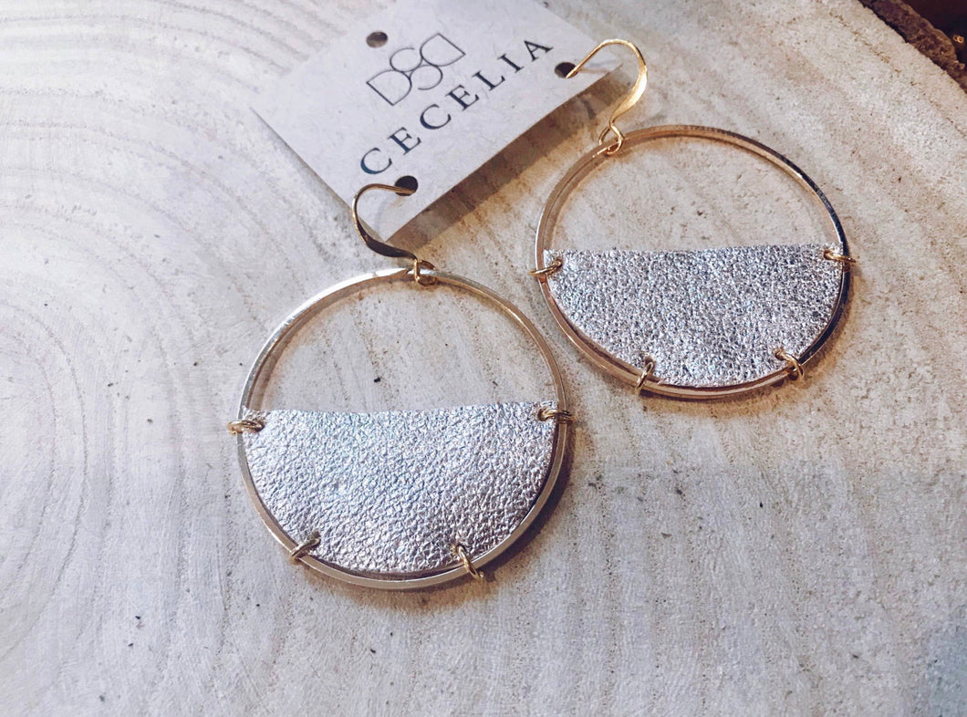 Half Moon Leather Earrings - Champagne
