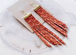 Bar Tassle Leather Earrings - Rust