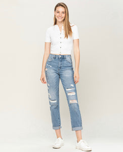 Distressed Patch Mom Jean