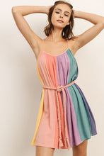 Load image into Gallery viewer, Sherbet Striped Dress + Braided Belt