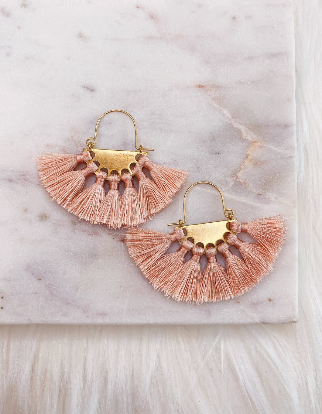 Blush Fan Tassel Earring