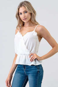 Salah Peplum Lace Top - White