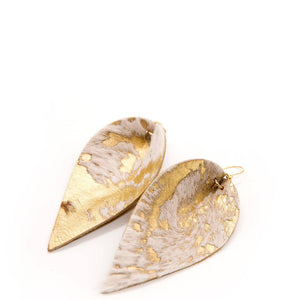 Gold Wash Leather Leaf Earrings