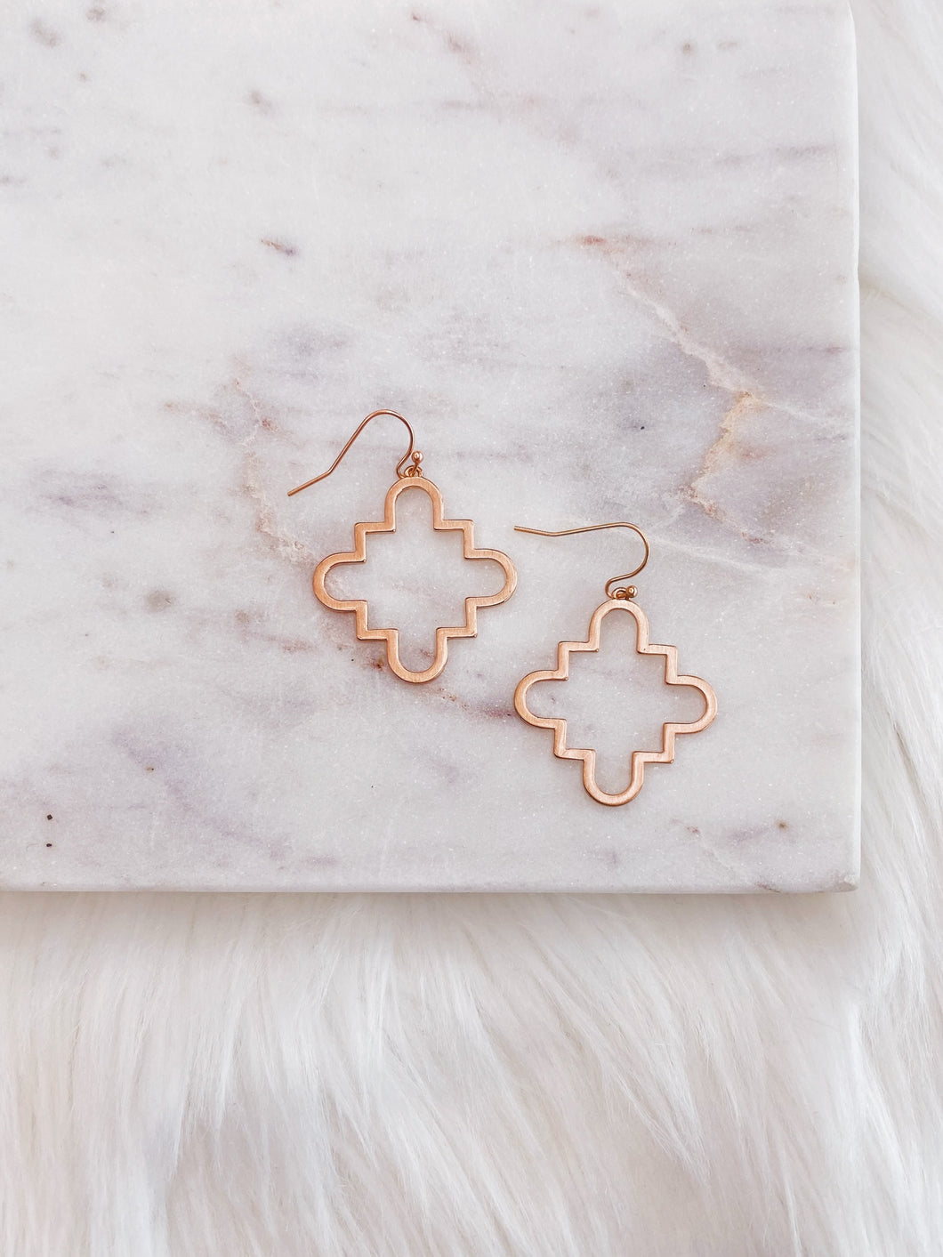 Rose Gold Quatrefoil Drop Earring