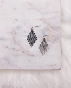 Silver Concentric Diamond Earring