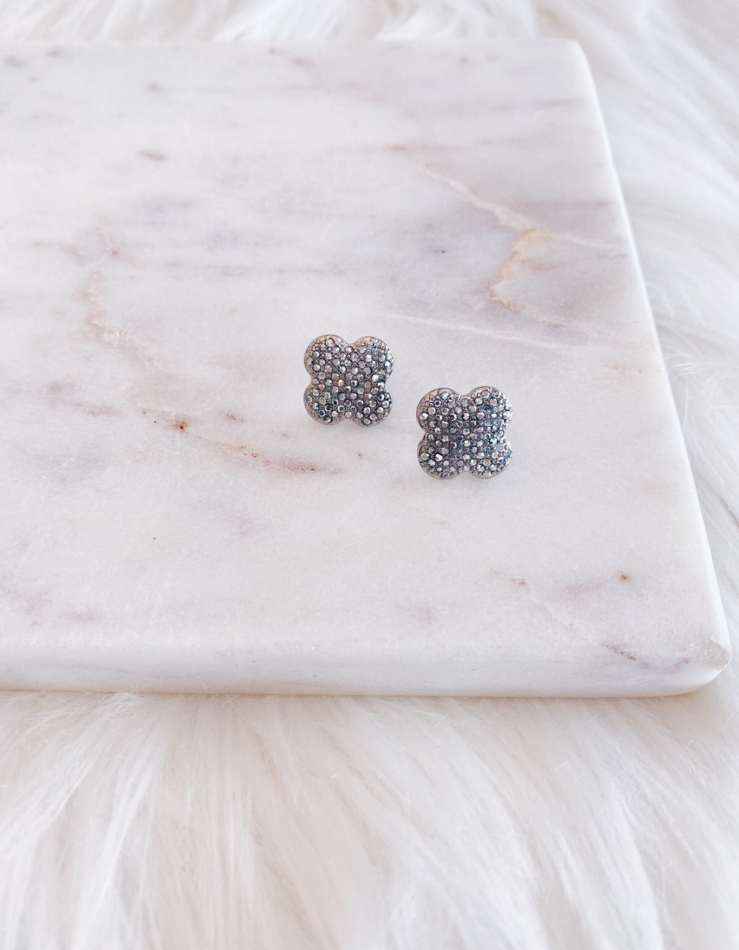 Silver Pave Clover Stud