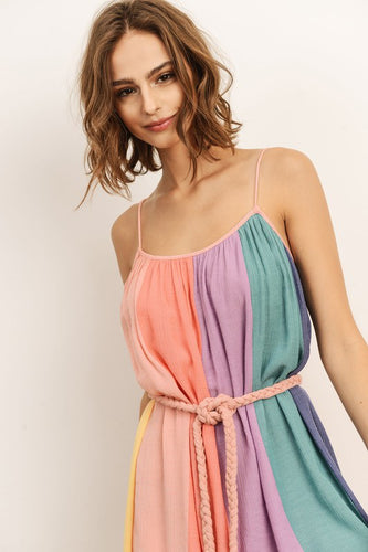 Sherbet Striped Dress + Braided Belt