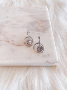 Aged Silver Drop Earring