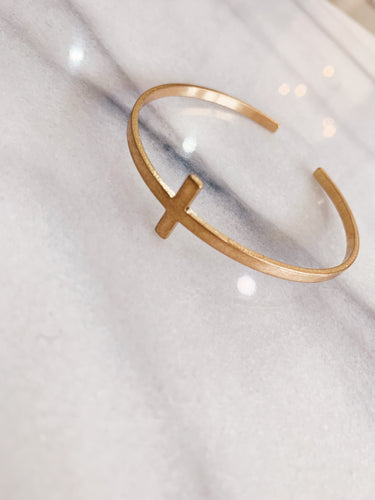 Gold Cross Cuff