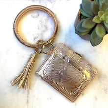 Load image into Gallery viewer, Cardholder with Keyring Bangle & Tassel - Rose Gold