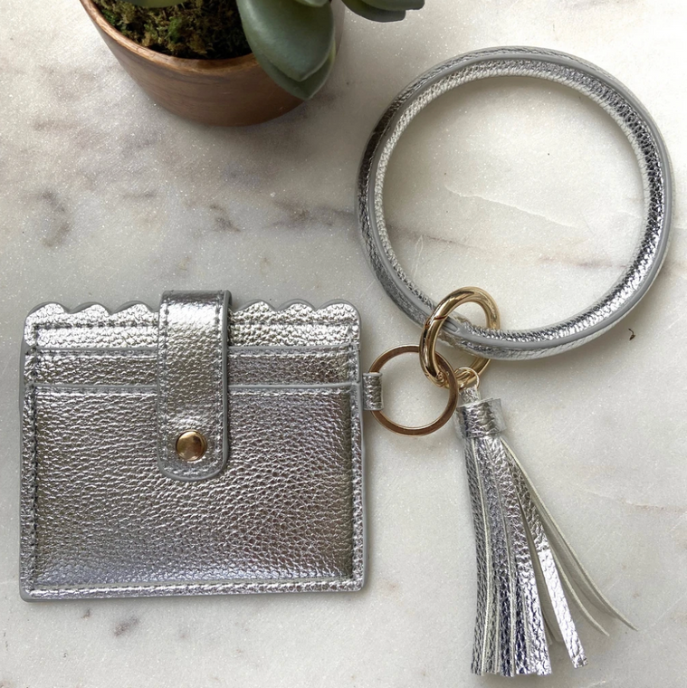 Cardholder with Keyring Bangle & Tassel - SILVER