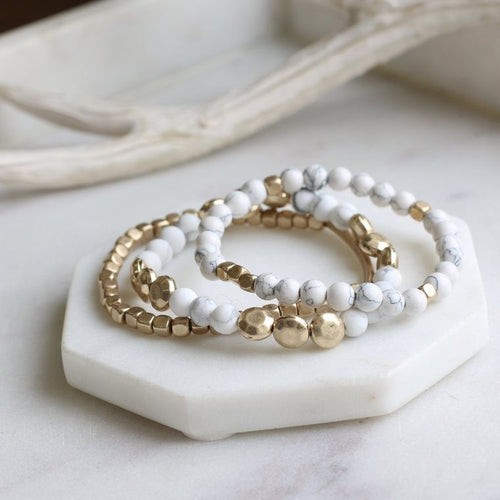 Stacked 3 Piece Bracelets Set w Gold Accents - White