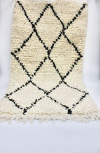 "Load image into Gallery viewer, Moroccan Wool Rug - Black & White - Gueliz 3'3"" x 1'9"""
