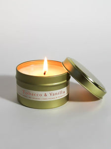 Tobacco and Vanilla 4 oz Gold Tin Candle