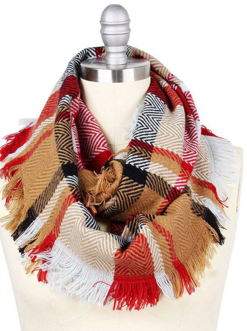 Infinity Plaid Scarf in Red & Taupe