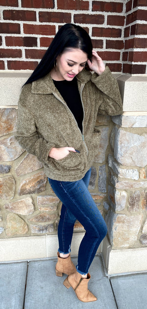 Fuzzy Faux Fur Jacket In Olive