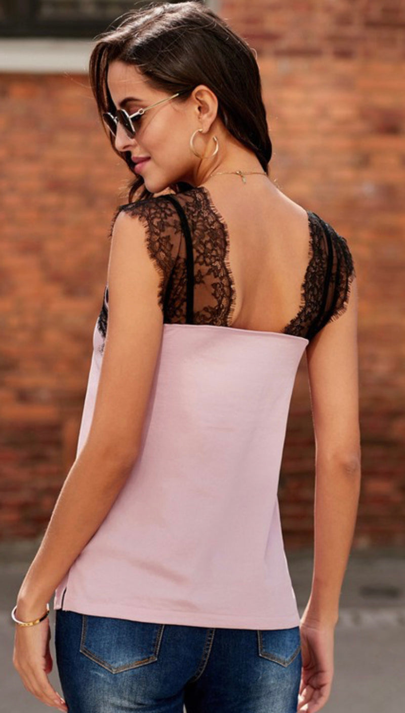 Lace Trim Tank in Pink