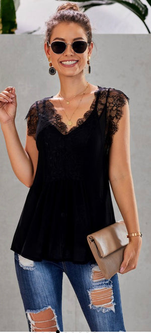 2 Piece Cami & Lace Tank in Black