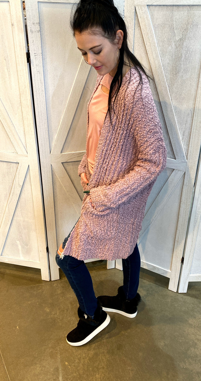 Spring Popcorn Sweater Cardigan in Lilac