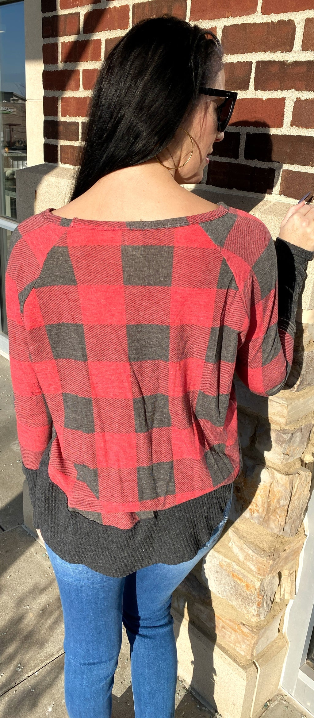 Buffalo Plaid and Waffle Top