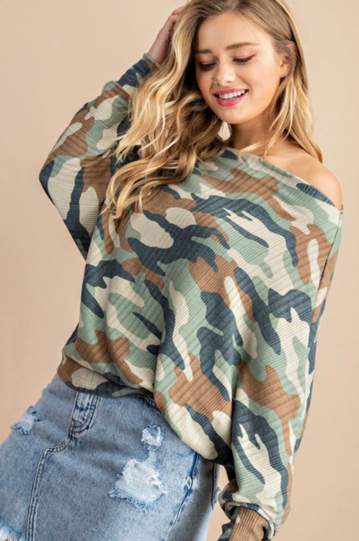 Camo Top with Dolman Sleeve