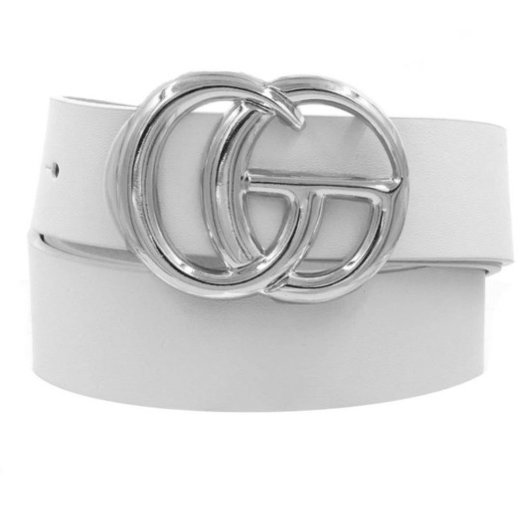 Dupes Belt Silver Buckle- White