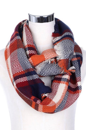 Infinity Plaid Scarf in Orange & Navy