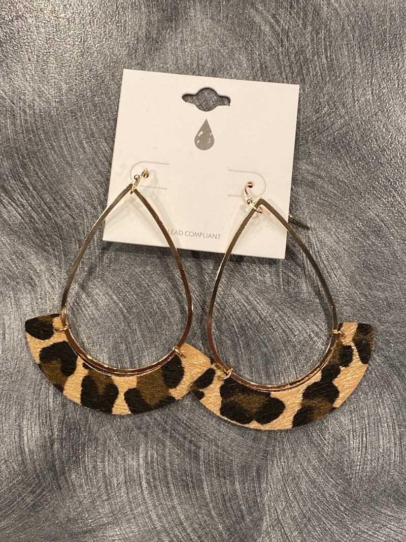 Leopard Gold  Leather Earring