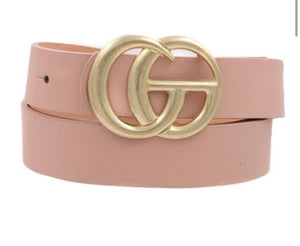 Dupes Belt Gold Buckle- Blush