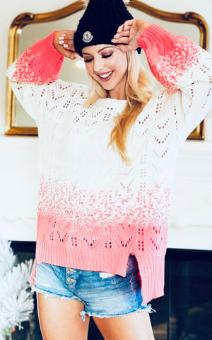 2 Tone Sweater in Neon Coral