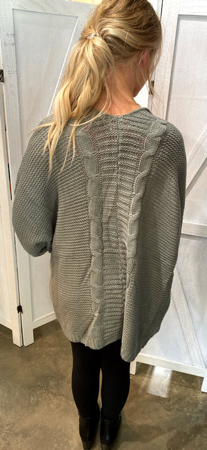 Oversized Sweater Cardigan in Grey