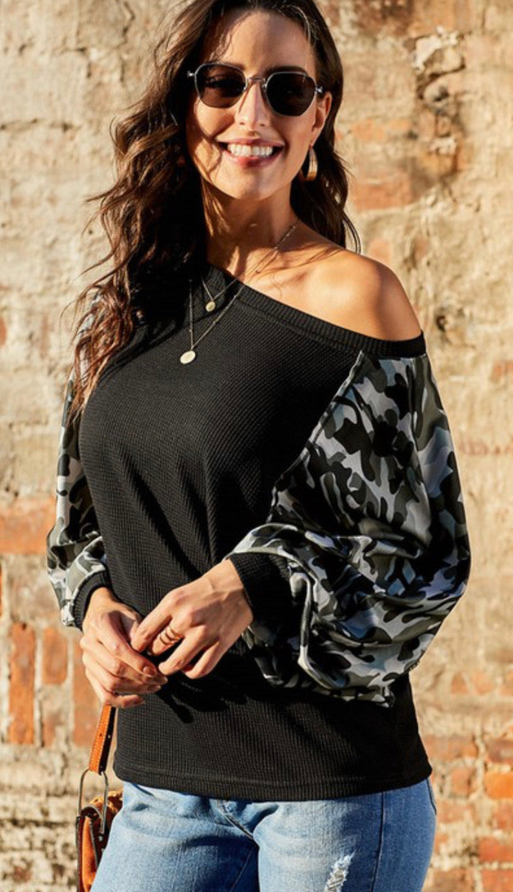 Camo Sleeve Dolman Top in Black