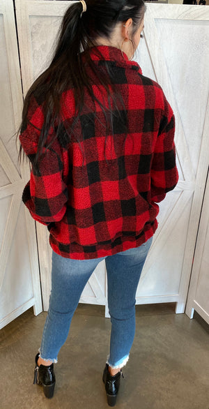 Oversized Buffalo Plaid Coat