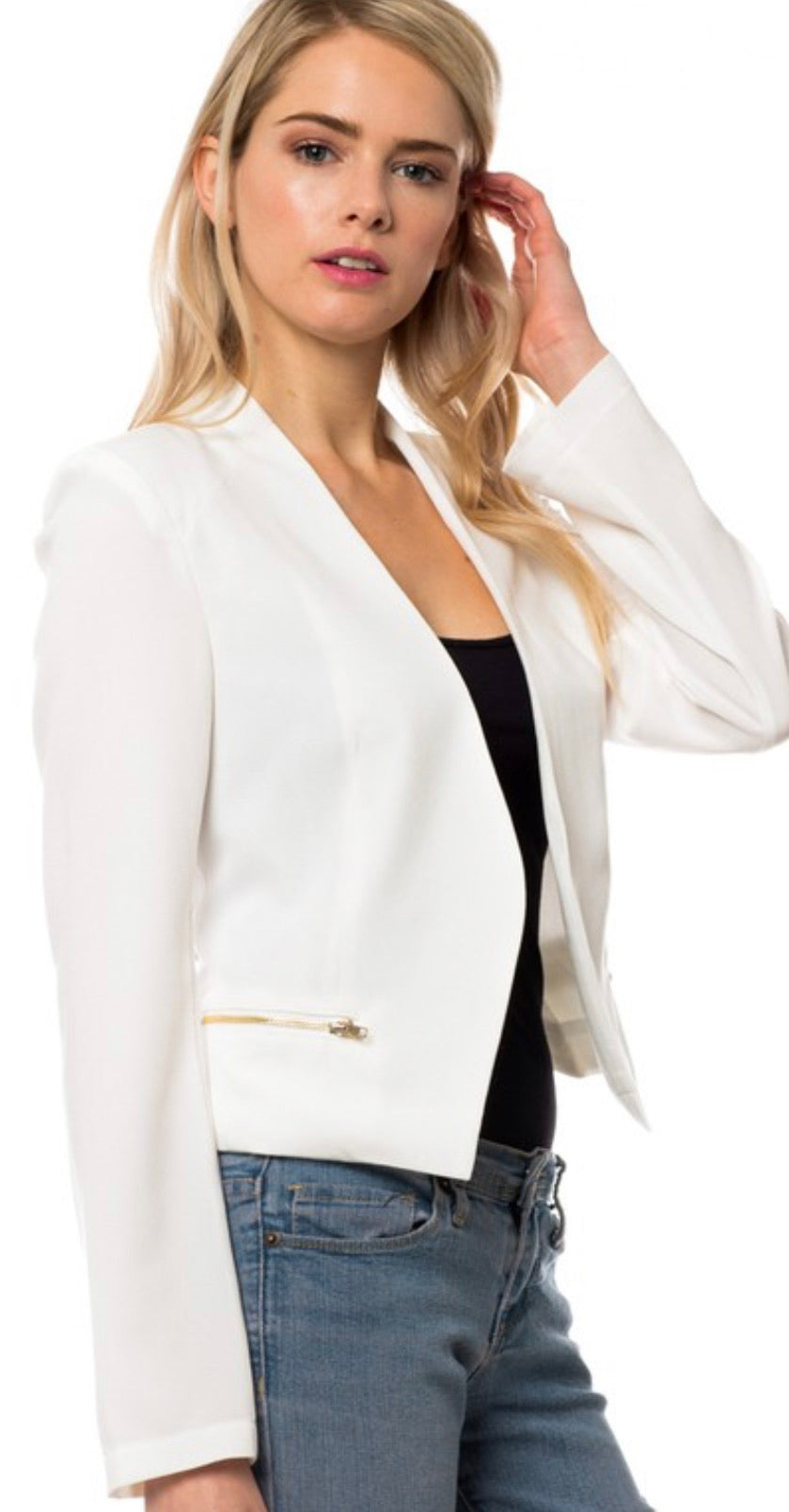 Cut Out Back Zipper Jacket in White