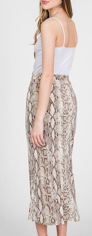 High Rise Snake Mid Skirt