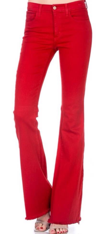 Flare Raw Hem in Red