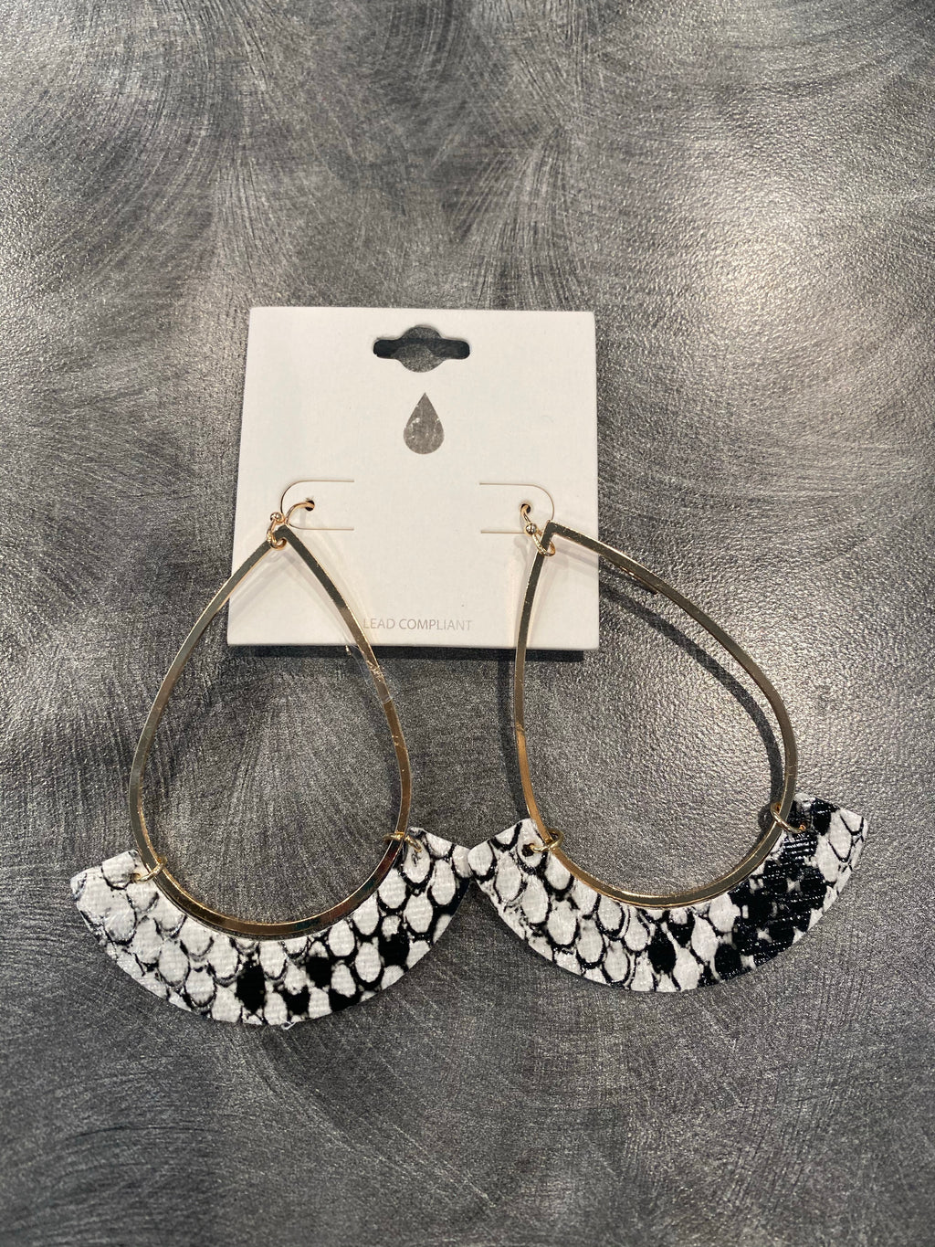 Snake Print  BW Earring in Gold