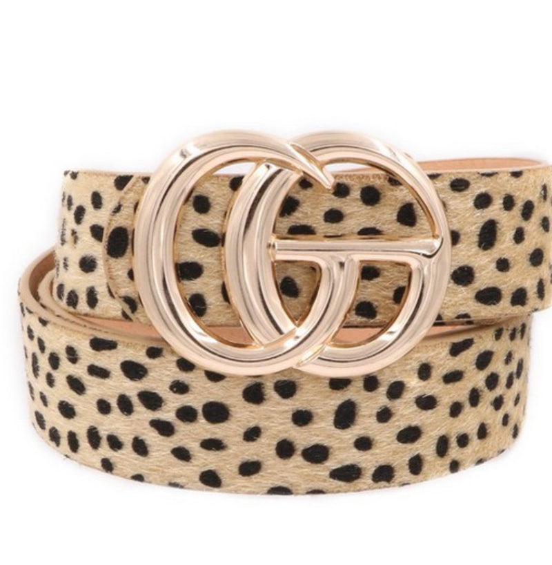 Dupes Cheetah Belt-Taupe