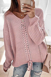 Solid Colour Loose Splicing Sweater