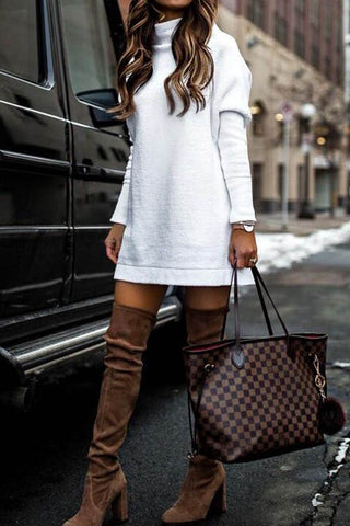 Round Neck Long Sleeve Knitted Sweater Dress