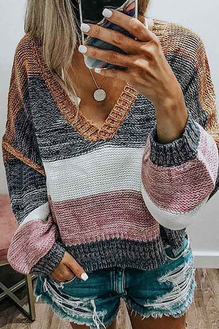 V-Neck Multicolor Patchwork Stripe Knitted Sweater