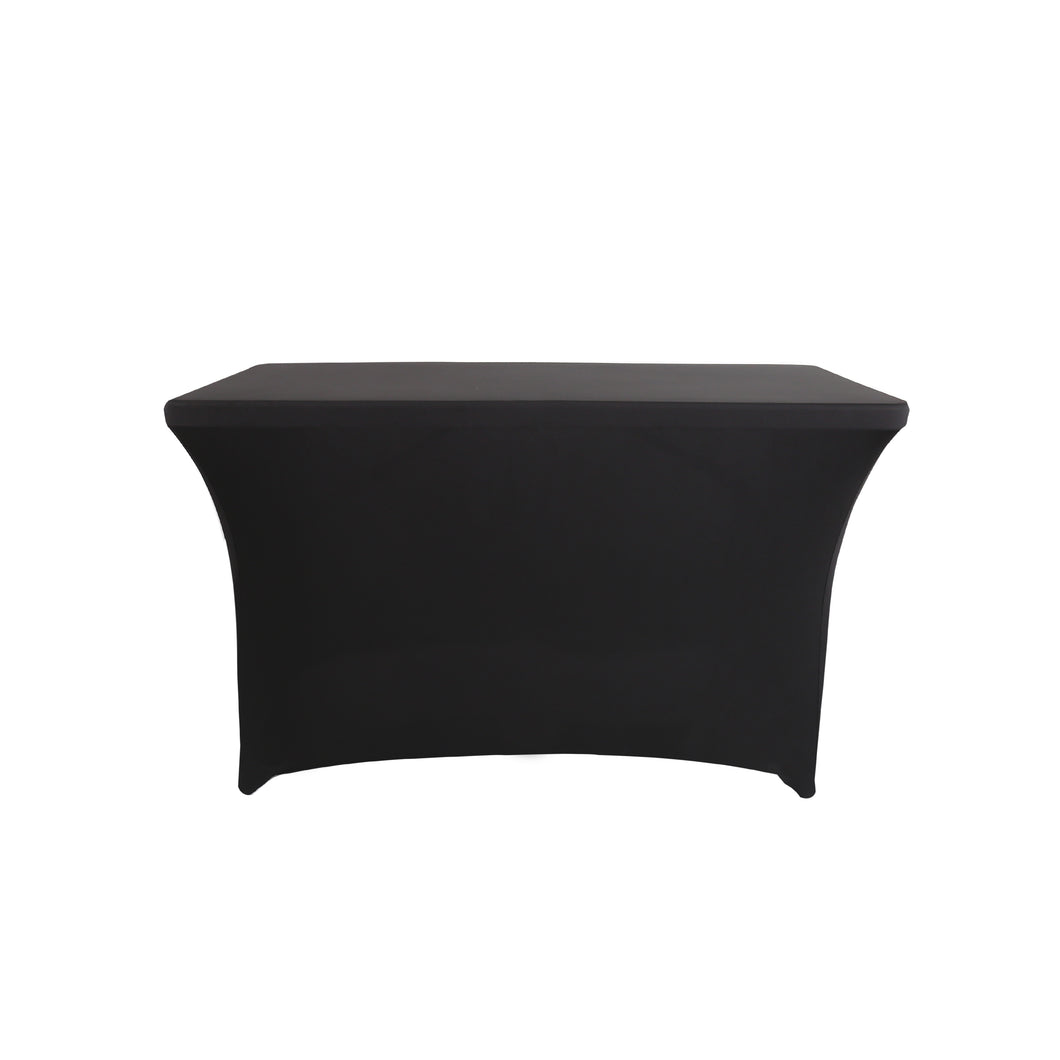 4FT Black Rectangular Cocktail Tablecloth