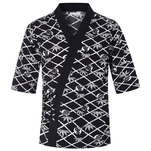 Japanese Sushi Chef Coat with Flower Pattern Unisex Restaurant Uniform