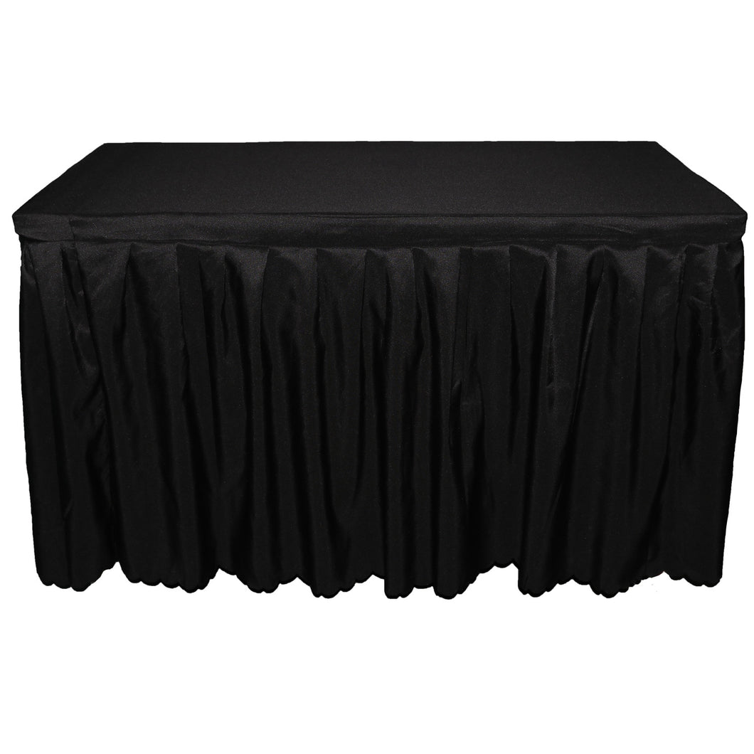 6FT black table skirt