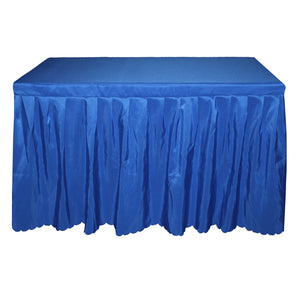 blue table skirt