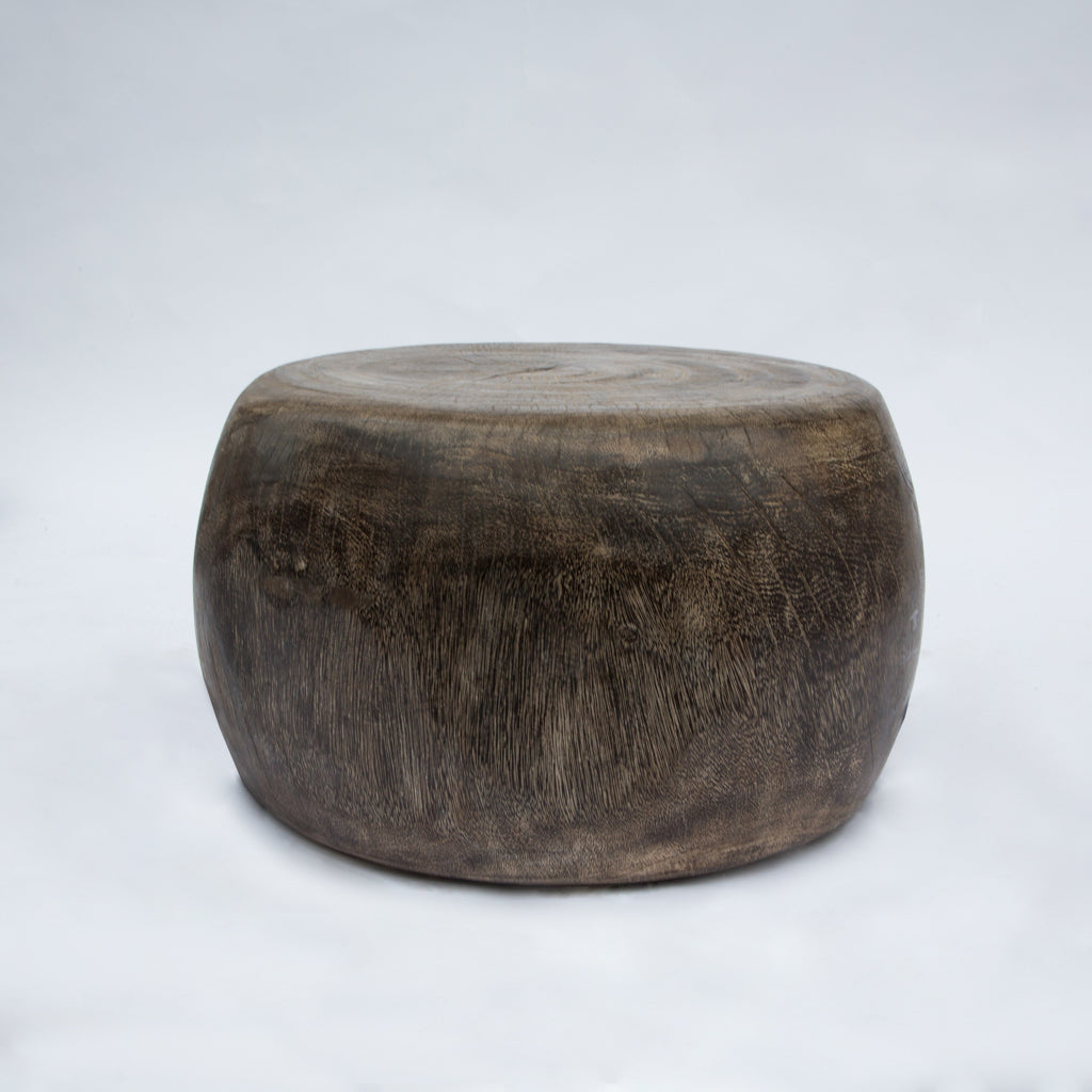 Round Brown Suar Stool
